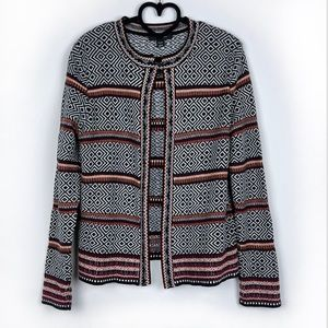 Atmosphere Geometric Open Front Cardigan Size M